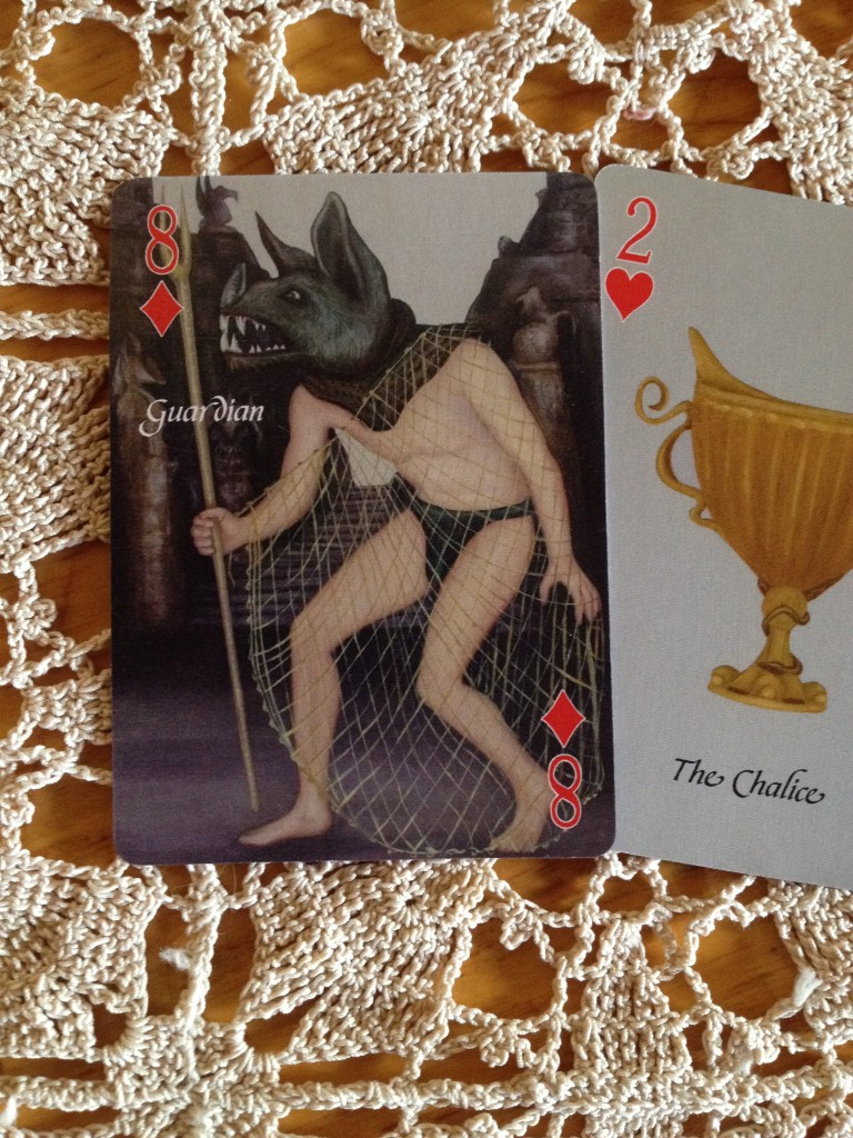 "I became the ""Guardian,"" the 8 of Diamonds from the new deck (preliminary sample card shown)"