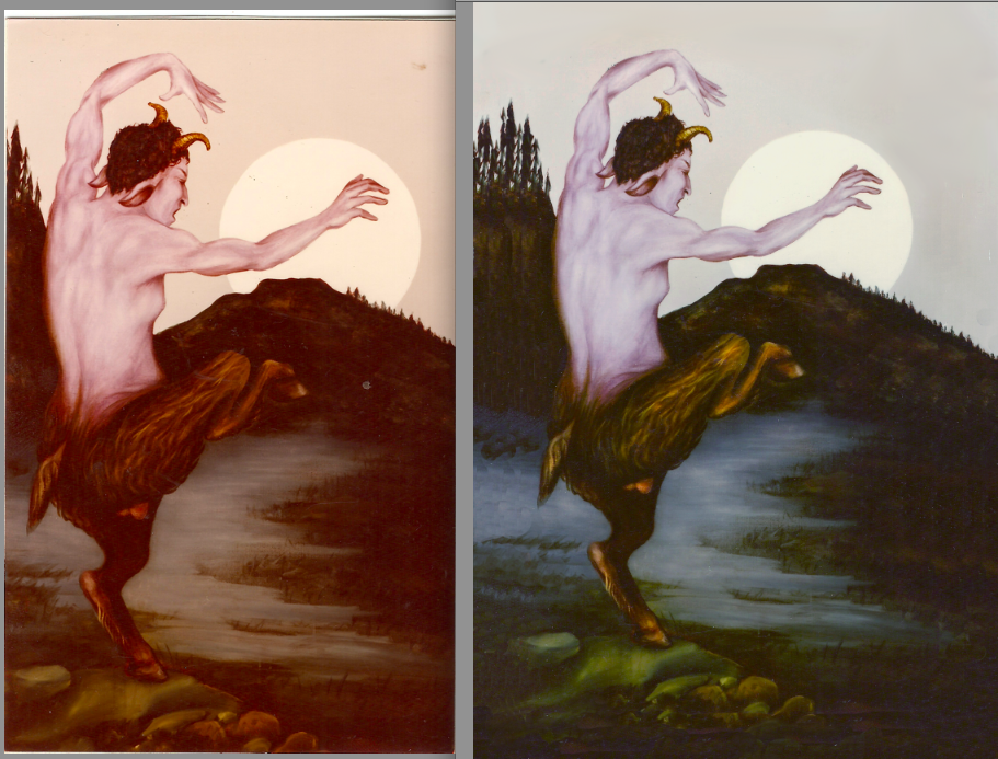 recreation of missing oracle painting for new deck, before and after.