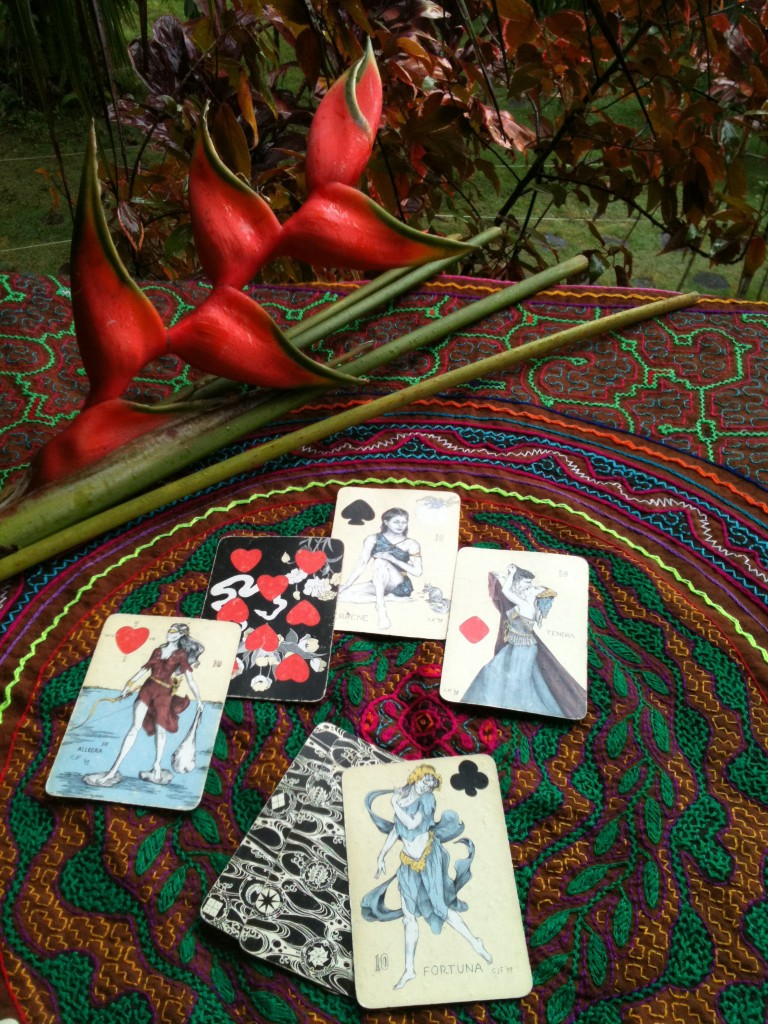 playing card oracles cards in jungle of Brazil where ayahuasca ceremony took place