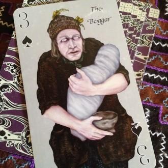 3 spades beggar playing card oracle alchemy