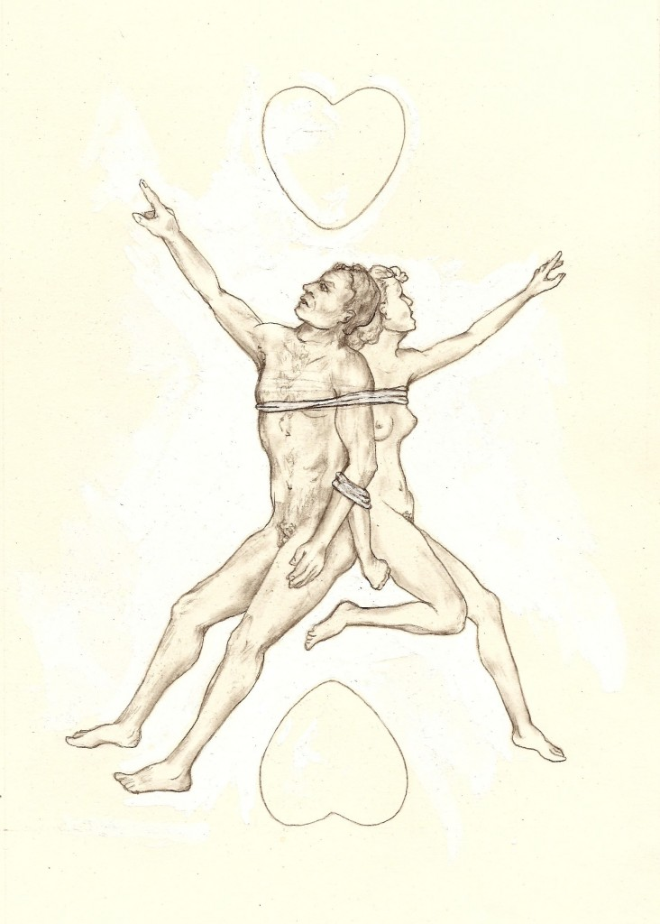 """The Lovers,"" by C.J. Freeman, original sketch for The Playing Card Oracles."